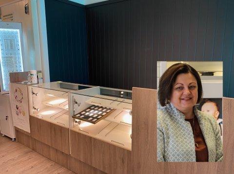 Nytt butikklokale: Berg Gull og Sølv har brukt påskedagene til å komme på plass i Bakkegata 2. – Vi er veldig fornøyde med resultatet, sier daglig leder Annette Melkeraaen Hauso (innfelt). Foto: Privat