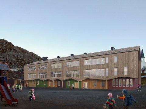 FÅR ANSIKTSLØFTNING: Det gamle skolebygget i Kjøllefjord er fra 1950-tallet. Nå vil det få et betydelig løft når kommunen vil bruke over 100 millioner kroner på skolen.