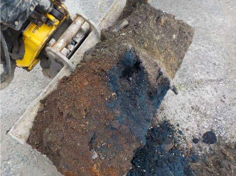 GIFTIG: Her blir det oppdaget mengder av det giftige stoffet cyanid i grunnen i Svelleveien i Lillestrøm.