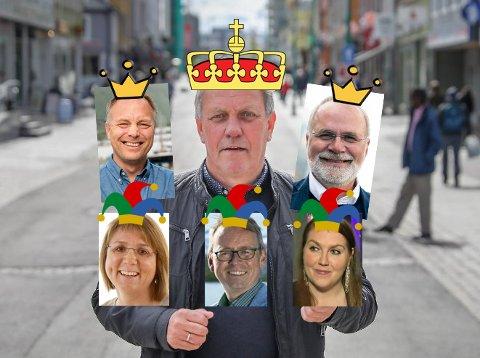 KORTSTOKK: Gunnar Wilhelmsen (Ap) er kongen i kortstokken. Pål Julius Skogholt (SV) og Hans Petter Kvaal (H) er knekter, mens Helga Marie Bjreke (KrF), Morten Skandfer (V) og Marlene Berntsen Bråthen (Sp) er jokere