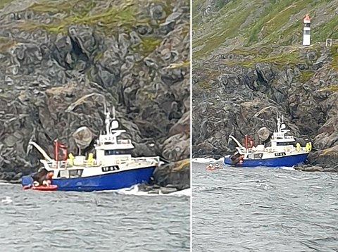 RETT PÅ LAND: Reketråleren gikk på grunn ved Lyngstuva fyr i morgentimene mandag. Båten Rubin var i nærheten og reddet mannskapet om bord.