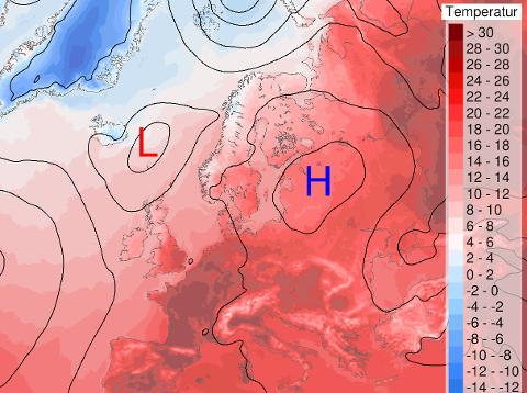 VARME. Høytrykk over Europa med opptil 35 grader. Her til lands ligger vi helt i utkanten av høytrykket, noe som gjør at lavtrykk og kaldere luft fra nordvest får mulighet til å snike seg inn. Kart: Meteorologisk institutt