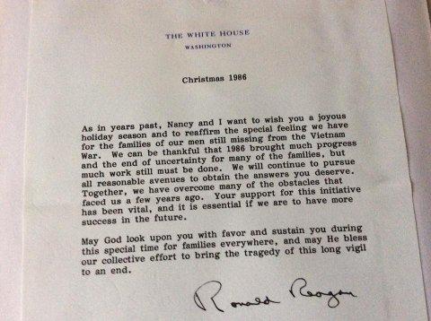 Fra Reagan: Det Hvite Hus fulgte opp familiene til savnede og døde soldater i Vietnam.