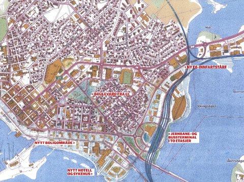 PLANEN: Her er Øystein Waags plan som ikke bare viser hvordan Hamar kan se ut med ny stasjon i øst, men hvordan hele byen kan utvikles de neste årene. Tegning: Sivilarkitekt Øystein Waag