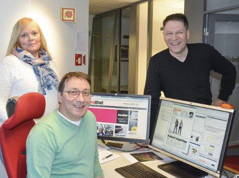 Fornyet: Nyhetsredaktør Marit Ulriksen, sjefredaktør Tore Bratt og prosjektleder Harald Mathiassen er fornøyde med det nye designet. Foto: Kenneth Haagensen Husby
