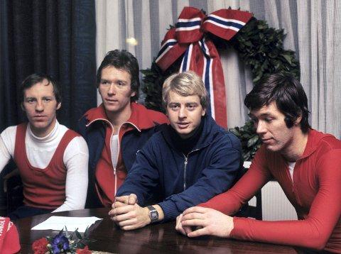 1977. Skøytesportens fire s-er. F.v.: Sten Stensen, Kay Arne Stenshjemmet, Amund Sjøbrend  og Jan Egil Storholt.  Foto: Jan Greve/VG