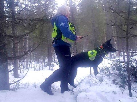 Hundefører Ann-Kristin Venner med redningshunden «Bjørnulvs Ultra» er med og leter etter 19-åringen i skogsområdene.