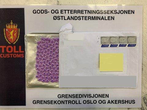 ECSTASY: Denne pakken var adressert til en 19 år gammel mann fra Nordland.