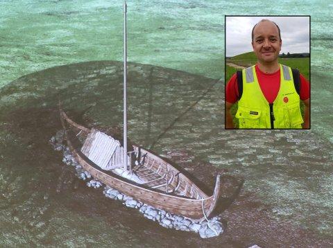 SPENT: Arkeolog og prosjektleder Christian Løchsen Rødsrud fra Kulturhistorisk museum leder arbeidet med å grave fram Gjellestadskipet på Jellestad ved Jelhaug.