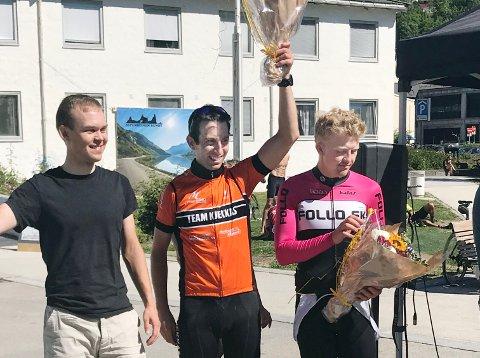 Tøffinger: Erno Kainulainen (fra venstre), Eivind Olsen og Fredrik Henne var like gode i Jotunheimen rundt. Trioen brukte 12 timer og 31 minutter på å sykle 43 mil.