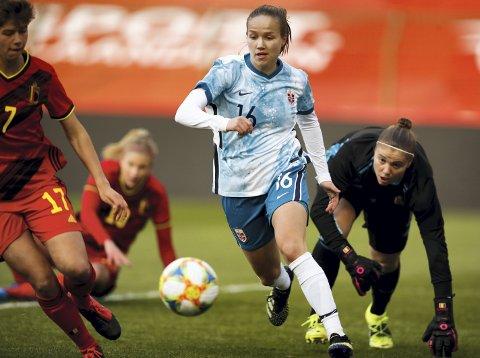 Scoret: Guro Reiten scoret det første målet da Norge slo Belgia 2-0 i en privatlandskamp torsdag.