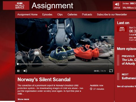 KRITISK: Tønsberg omtales i BBCs kritiske dokumentar om det norske barnevernet. (Faksimile: BBC.co.uk)