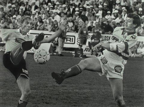 Jahn Teigen og Kjell Magne Bondevik på Tønsberg Gressbane.