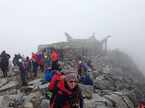 GRÅTT:Tåke gjorde at utsikten fra «toppen av Norge» var så som så.