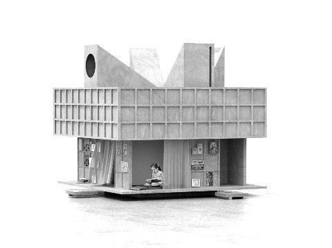 """Sånn vil den nye installasjonen i barneavdelingen på Nesodden bibliotek se ut. Inndelt i flere små rom og med ulike åpninger og lysinnslipp i taket, skal """"huset"""" invitere til ro og ettertenksomhet."""