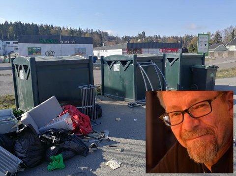 TRIST SYN: Knut O. Geelmuyden-Thon tok dette bildet av forsøplingen ved miljøpunktet ved Sjøskogen skole.