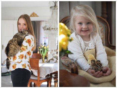 Katrine Pedersen og datteren Astrid Linnea (4) fikk en skikkelig fin påskeoverraskelse denne uka. Kyllingene klekket for få dager siden, og bor på badet vårt med resten av søskenflokken enn så lenge, skriver Pederse. Astrid har selv valgt å kalle de små nyfødte kyllingene: Cornelia og Johanna.