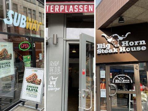 KONTROLLERT: Fra venstre: Subway Lille Grensen, Even Espressobar og Big Horn Steak House er blant spisestedene som er kontrollert av Mattilsynet.