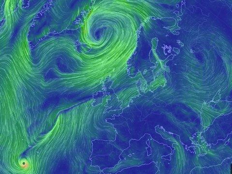 Denne illustrasjonen viser det store lavtrykket utenfor Island, samt syklonen vest for Gibraltar.