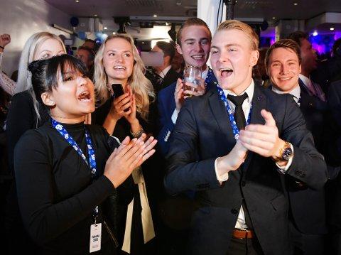 God stemning på Sverigedemokraternas valgvake i Stockholm søndag kveld.