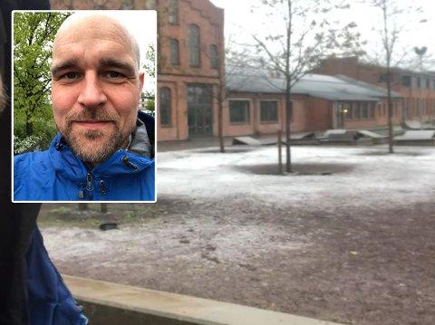 Håvard Paulsen måtte gjøre et video-opptak av snøkaoset som meldte seg i Oslo.