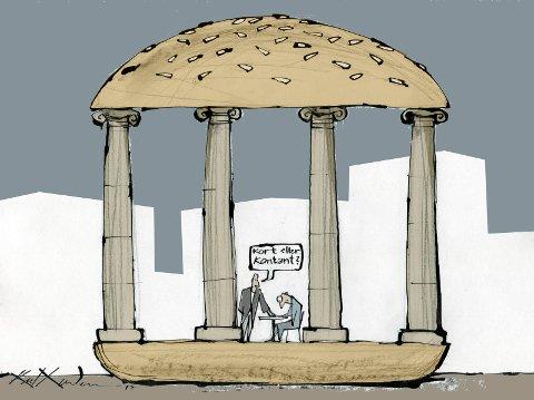 "HALVHJERTET BURGER: ""På Bragernes torg er det annerledes – et eldorado for overprisede opplevelser og de halvhjertede hamburgernes hovedstad."" ILLUSTRASJON: KARL GUNDERSEN"