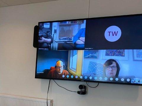 DIGITALT: Det har blitt mer vanlig med digitale møter i disse koronatider. Bildet er fra dialogmøte om vintervedlikehold i Lebesby kommune 6. mai.