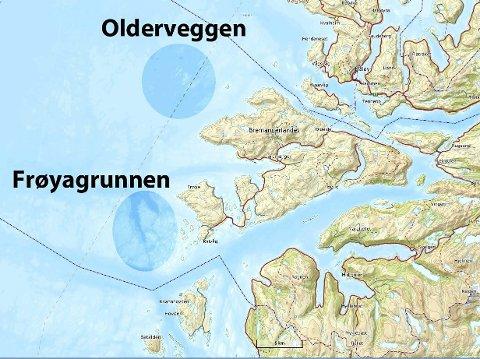 NÆR LAND: Frøygrunnanane og Olderveggen ligg på grunt vatn og rett utafor stovedøra på kysten.