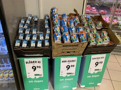 BILLIG SMÅGODT: Småfrukta på Kiwi kostar no mindre enn vanleg smågodt.