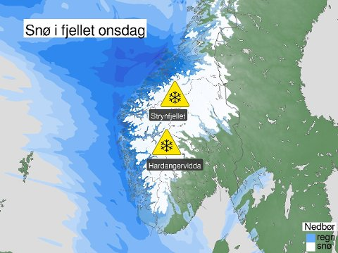 SNØVARSEL: Meteorologisk institutt har sendt ut gult farevarsel frå onsdag ettermiddag for snø over 500 meter i fjella i Sør-Norge.