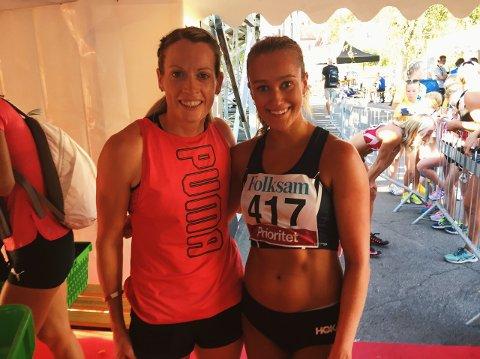 OL-MEDALJØR: Nora Wold fikk tatt et bilde med forbildet Eilidh Doyle etter å ha løpt mot bronsevinneren fra OL i Rio i 2016.