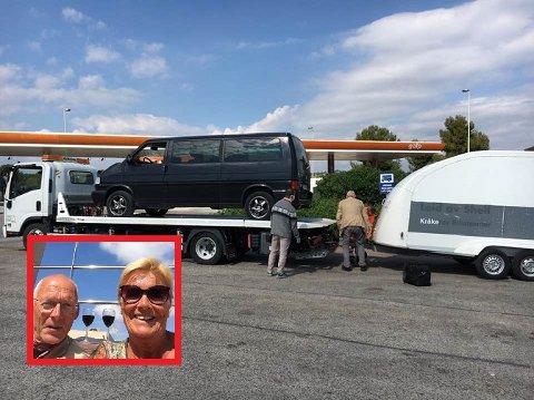 Ekteparet Gunn og Jan var på vei hjem fra huset i Spania da bilen streiket.
