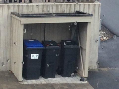 Knut Kroksjø (77) på Trondalstoppen er blant de mange i nabolaget som har bygget skur til avfallsdunkene sine. Han har ikke funnet ut hvor han skal gjøre av den nye matavfallsdunken som etter hvert kommer – og synes kommunen burde anstrengt seg for å finne en bedre løsning.