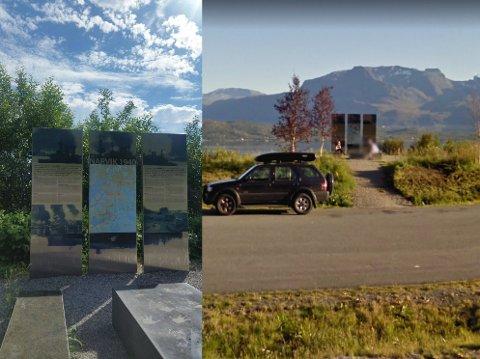 Nå og da: Bildet til høyre er tatt i 2010, mens bildet til venstre er fra i år. Den gang var det utsikt til Narvikhalvøya fra rasteplassen. Nå har gjengrodd skog blokkert utsikten.
