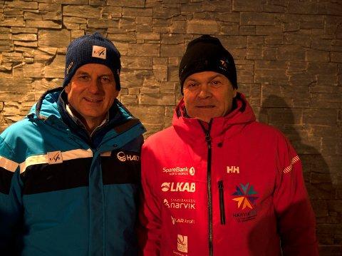 BER FOLK KOMME: Erik Plener oppfordrer byens befolkning til ta seg en tur i fjellet for å oppleve toppidrett. Her sammen med Erik Røste, president i Norges skiforbund