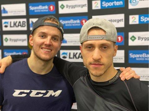 Avgjørende: Keeper Oscar Fröberg (t.v.) og tremålscorer Dante Salituro, hadde en strålende kamp for Narvik hockey søndag.