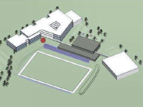 SKISSE: Det nye skolebygget (i hvitt t.v.) og idrettshallen (t.h.) plassert på hver sin side av Hortenshallen og Lystlunden-anlegget.