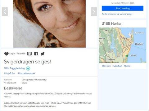 ANNONSE: Line Celine Austgaard ble lagt ut for salg på Finn av svigerdatter Renate Westby. Annonsen er fjernet, men henvendelsene har ikke latt vente på seg.