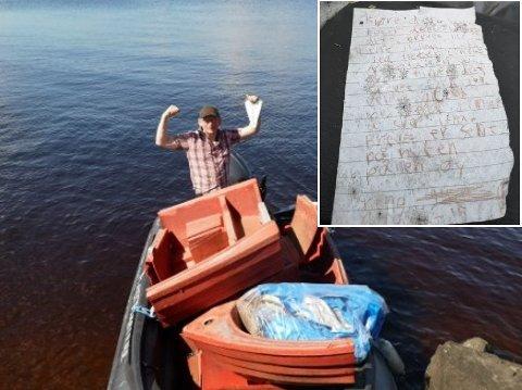 FUNN: Robert Tollefsen og Plastpiratene finner mye rart ved lokale elvebredder og sjøer. Det er slett ikke uvanlig å finne flaskepost blant skrotet.