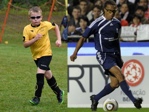 I SAMME BÅT: Tyr Spilde og Edgar Davids må begge bruke sportsbriller for å yte optimalt på fotballbanen.