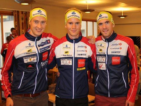 Blir dette Halden Skiklubbs stafettlag under helgens orienterings NM? f.v. Olav Lundanes, Thomas Natvig Årstad og Magne Dæhlie