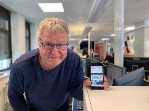APPEN SOM TAR OVER: Ansvarlig redaktør Hans-Petter Kjøge i Halden Arbeiderblad viser fram nyhetsappen som nå har tatt over behovet for den digitale utgaven HA7. Søndag 18. oktober er siste dag med HA7. Det betyr derimot ikke at du får noe mindre innhold.