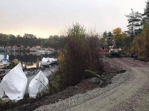 STARTET ARBEIDET: Her har arbeidet med å oppgradere stien til Sauøya startet.