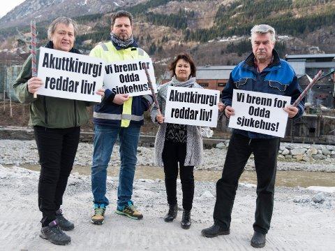 LO mobiliserer for Odda sjukehus 1. mai. På bildet er Ørjan Andersson, Margit Jordal, Dijana Milcevic Saga og Terje Kollvbotn.