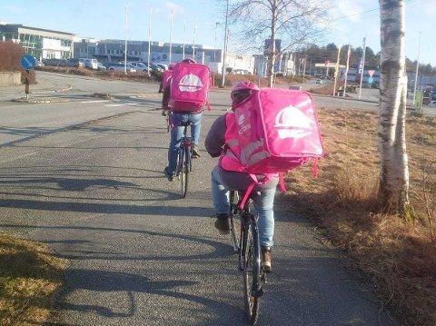 SEKS SYKLISTER: Seks syklister og 26 biler dekker foreløpig Foodora sitt leveringsområde i Haugesund.