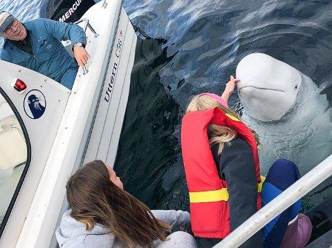 KONTKAKT: Lørdag besøkte bestefar Helge Palmer, Sara Marie Larsen og Andrea Palmer Sørnes Hvadimir i Kvalfjord.