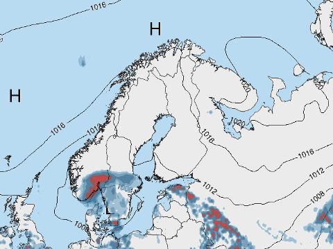 FINT I NORD: Kartet viser høytrykket som strekker seg fra Norskehavet og østover i Skandinavia til Kola-halvøya søndag ettermiddag. Man ser at det ikke er nedbør over Nord-Norge og Midt-Norge, men at det da kommer inn regn i Sør-Norge, forteller meteorolog i Storm Geo, Beathe Tveita