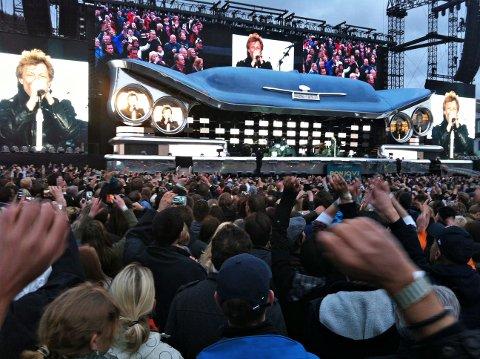 FULLT HUS: Lørdag skal Bon Jovi lage fest for et fullsatt stadion i Stavanger. Bildet er fra en konsert på Koengen i Bergen i 2013.