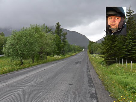 VEI: For andre året på rad har asfalten langs E10 på Ørsnes blitt høvlet av veien. John Edvin Andersen, motorsyklist og styremedlem i Norsk Motorsykkel union (NMCU) Nordland, reagerer på dette.