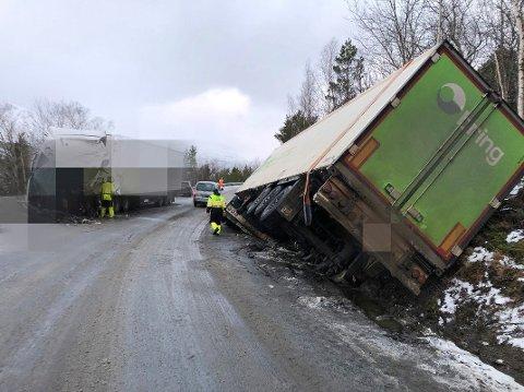 Fra ulykkesstedet, hvor fire tungbiler var involvert i en ulykke sist torsdag.